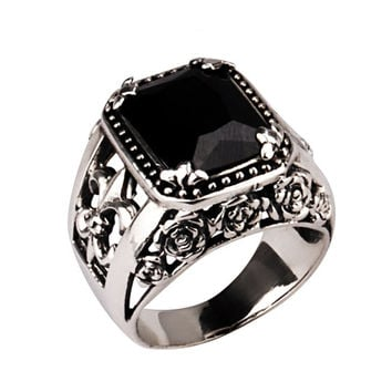 Natural Agate Black Stone Scout Men's Ring Black Onyx Thai .925 Silver-Size 8