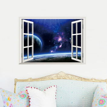 2015 Outer Space Earth 3d Window Wall Decal Sticker Stickers Decals Graphic Home Decor Outer Stars kids Room poster