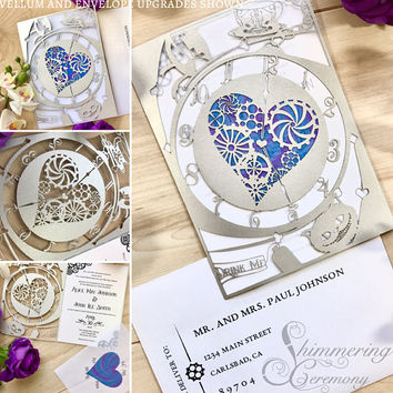 Alice in wonderland inspired laser cut invitation wedding tea party down the rabbit hole and through the looking glass