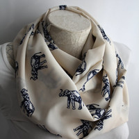Elephant Scarf, Ivory Elephant Scarf, Elephant Infinity Scarf, Women Accessories, Gift for Her, Gift Ideas