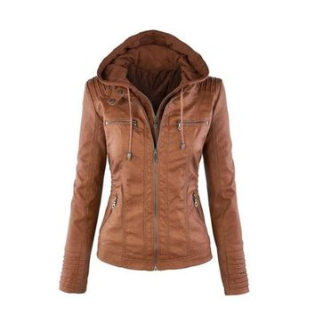VONE5YD Womens Casual Motorcycle Fleece Hoodie Faux Leather Jacket