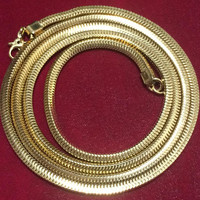 1970s Monet 30 Inch Snake Chain Necklace Gold Tone Signed Vintage Jewelry Layering Piece 318