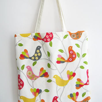 Tote bag, basic bag, reusable shopping bag, bird patterned beach bag
