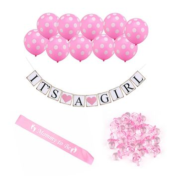 Girl's Baby Shower Party Decorating Kit Pink Balloon Pacifiers Mommy Sash Bunting Banner Home Party DIY Decoration Tools Set
