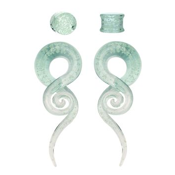 BodyJ4You Glass Gauges Kit Twisted Ear Tapers Plugs Glow in the Dark 4G-14mm Piercing Jewelry