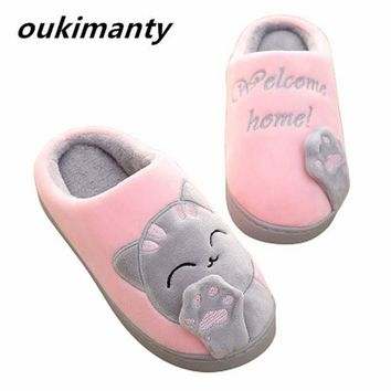 Plush Women Winter Home Slippers Cartoon Cat Home Shoes Bedroom Flat Warm Slippers Indoor Loves Couple Floor Shoes #Y0634083Y