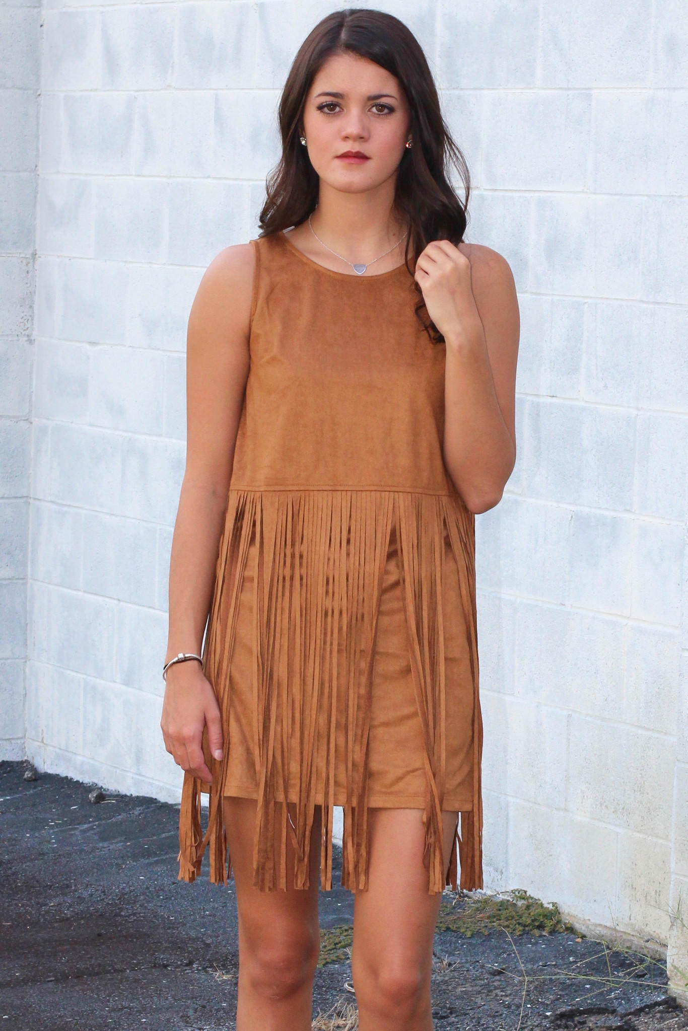 Rain Dance Suede + Fringe Dress  Camel  from The Fair Lady 861a9b17f