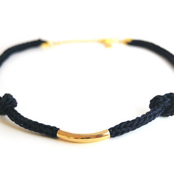 Blue necklace with gold tube and knots, nautical necklace, midnight blue knit necklace