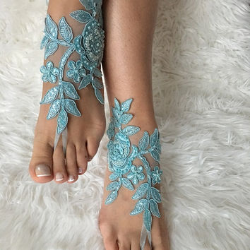 FREE SHIP Blue lace barefoot sandals, beach wedding barefoot sandals, belly dance, lace shoes, wedding shoe, bridesmaid gift, beach shoes