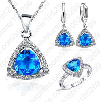 JEXXI Blue Jewelry Sets Fat Triangle Cubic Zirconia Stone 925 Sterling Silver Earrings Pendant Necklaces Finger Rings US6-9