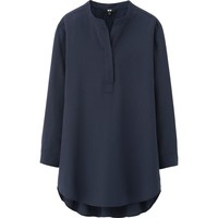 WOMEN RAYON STAND COLLAR 3/4 SLEEVE BLOUSE | UNIQLO