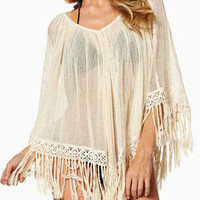 Beige Sheer Mesh Tassel Trim Pancho Beach Cover Up
