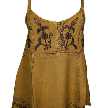 Mustard Floral Embroidered Spaghetti Top Beautiful Flare Rayon Boho Chic Tank Top Blouse