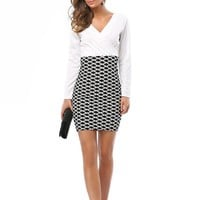 Women Summer Wear to Work Dress Patchwork Clothes Office Lady