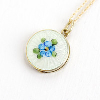 Antique Art Deco 10k Yellow Gold Guilloche Enamel Locket Necklace- Vintage 1920s 1930s Blue and White Flower Painted Fine Pendant Jewelry