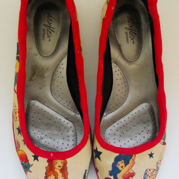 Rockabilly Tattoo Fabric Covered Shoes