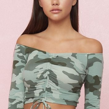 Long Sleeve Crop Top With Ruching
