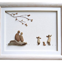 Pebble art family and dog, Father's Day gift, Anniversary gift for wife / husband, Woodland nursery decor, Family wall art housewarming gift
