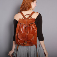 80s LEATHER BACKPACK / 1980s Whiskey Brown Daypack School Bag PURSE
