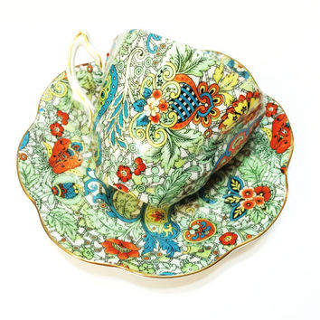 Vintage Gorgeous Rosina Tea Cup, Paisley Chintz, Blue, Green, Red, Gold Rims, Scalloped, 1950s