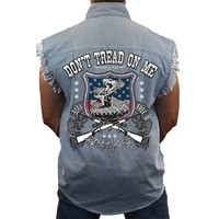 Men's Sleeveless Denim Shirt USA Flag Don't Tread on me Biker