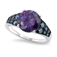 .925 Topaz and Sapphire Ring