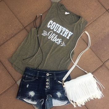 """COUNTRY VIBES"" Women's Muscle Tank"