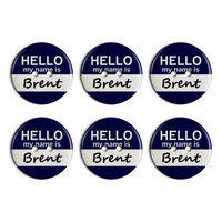 Brent Hello My Name Is Plastic Resin Button Set of 6
