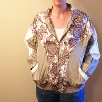 Vintage Jacket, Nylon Jacket, 80's Jacket, 90's Jacket, Adult Small, Floral Design