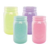 Mason Jar Set of 4 Pastel Wedding Glass Mason Jar Decor Bulk Mason Jars Mason Jar Centerpiece