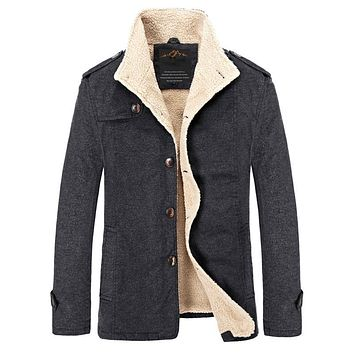 Wool & Blends 2017 new Fashion New Men High Quality Single Breasted Woolen Peacoat For Man Casaco Inverno Mascu