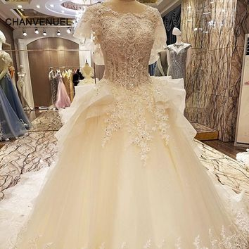 LS79643 special wedding dresses lace ball gown corset back wedding gowns 2017 robe de mariage real photos