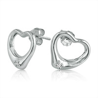 Diamond Heart Earrings in .925 Sterling Silver