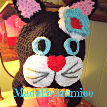 Crochet Black and White Cat Beanie, Blue Eyed Cat Crochet hat, Feline Beanie, Tom Cat, Girl Meow Cap