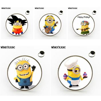 EJ Glaze Minions Cheap Fashion Jewelry With Glass Cabochon Bronze/Silver/Golden Rings For Lovers Girl Friend Best Gift