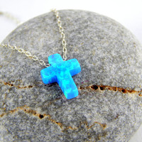 Light Blue Opal cross Silver Necklace, Tiny Blue Opal cross, Silver Necklace, dainty necklace, cross necklace, minimalist necklace