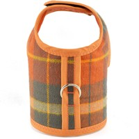 Orange & Khaki Green Plaid Bushed Cotton Dog Vest Harness - CLOSEOUT!