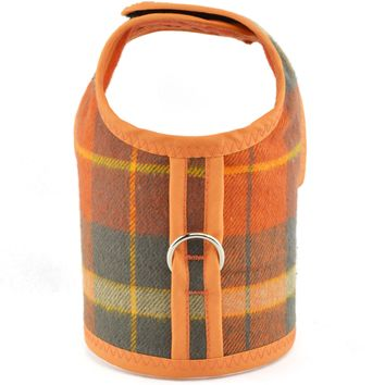 Orange & Khaki Green Plaid Bushed Cotton Flannel Dog Cat Vest Harness