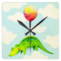 Cute Alligator & Balloon Square Wall Clock