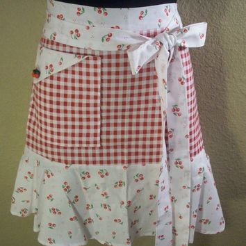 Retro Red Gingham / Cherry Print Half Apron by Eclectasie on Etsy