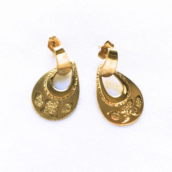 Vintage Princess Pride Creations - Gold Filled Earrings - Floral Design Dangle & Drop Earrings - Gold Floral Earrings