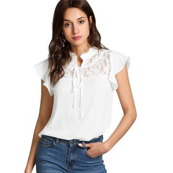 White Knot Floral Lace Yoke Top Women Stand Collar Ruffle Butterfly Sleeve Plain Blouse