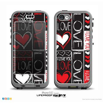 The Sketch Love Heart Collage Skin for the iPhone 5c nüüd LifeProof Case