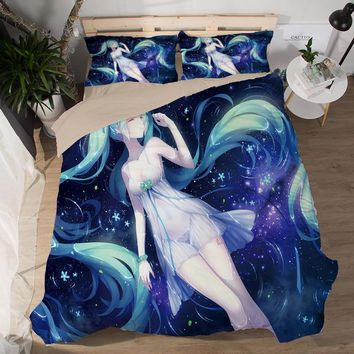 Japanese Anime Hatsune Miku Bed Bedding sets Sexy Bedsheet 3d Fitted Duvet Covers beautiful girls cartoon queen Quilt cover sets