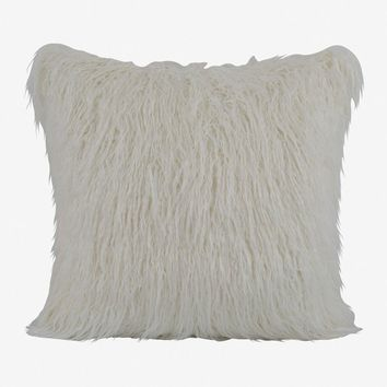 Boras 18 X 18 Mongolian Faux Fur Pillow - White