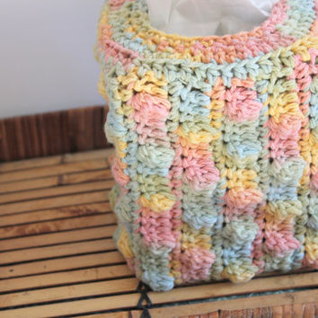 Colorful Tissue Cover, Crochet Tissue Cover, Tissue Box Holder, Nursery Decor, Colorful