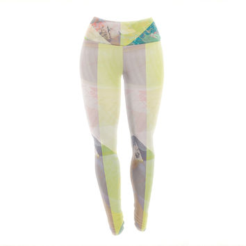 "Gabriela Fuente ""Patch Garden"" Tan Yellow Yoga Leggings"