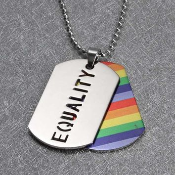 "New Gay Pride multicolor ""PRIDE"" Dog Tag Hot colorful PENDANT Lesbian LGBT Pendants necklace for Men and Women collares Taki"