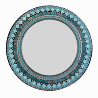 Teal Mosaic Mirror, Round Turquoise Silver Black Wall Art