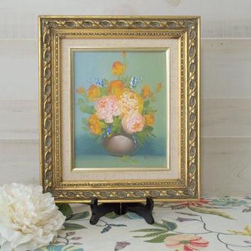 Gold 8x10 Framed Painting of Floral Artwork, Signed Oil Painting of Flowers on Canvas
